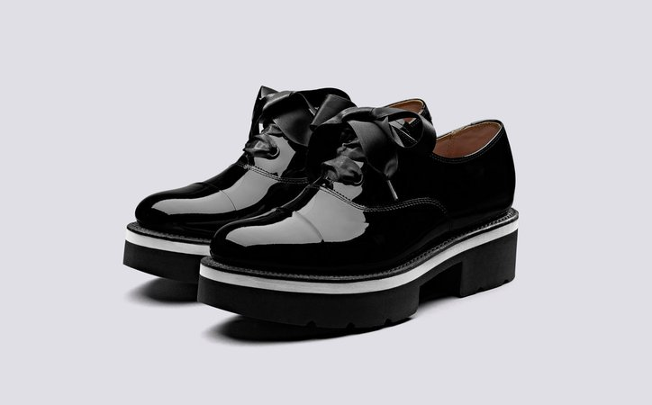 Velma | Womens Oxford Shoes in Black Patent Leather on a Black Rubber Sole | Grenson Shoes