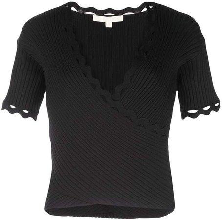 ribbed wrap short-sleeve top