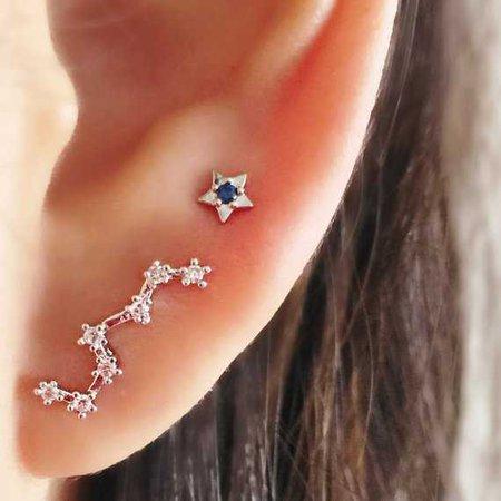 Constellation Ear Crawler silver ear climber/ silver ear pin/