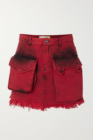 Red Frayed acid-wash denim mini skirt | Marques' Almeida | NET-A-PORTER