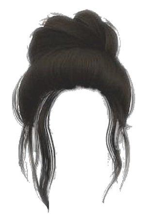 brown hair bun png