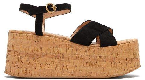 Billie 20 Suede Wedge Sandals - Black