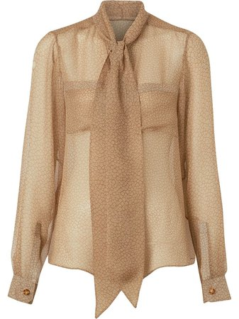 Neutral Burberry Fish-scale Print Silk Oversized Pussy-bow Blouse   Farfetch.com