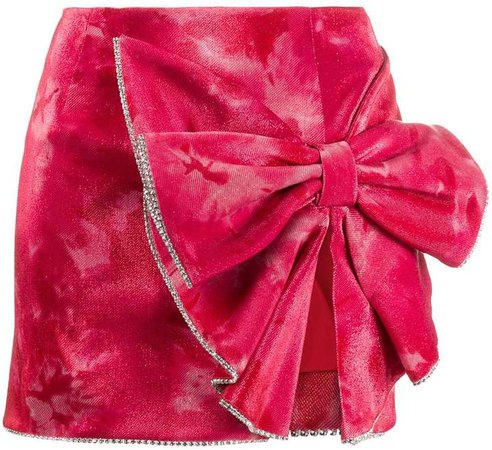 crushed velvet bow mini skirt
