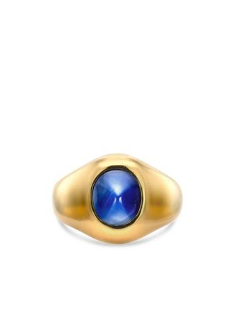 Shop gold & blue Tiffany & Co. Pre-Owned 1961 18kt yellow gold sapphire ring with Express Delivery - Farfetch