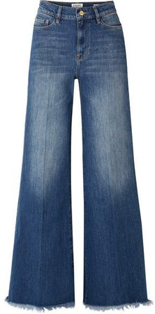Le Palazzo Frayed High-rise Wide-leg Jeans - Dark denim