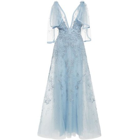 Light Blue Mesh-Sleeved Evening Gown