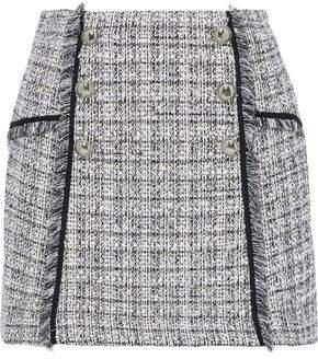 Starck Button-embellished Boucle-tweed Mini Skirt