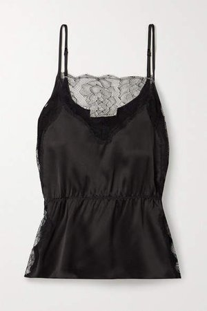 Lace-trimmed Silk-satin Camisole - Black