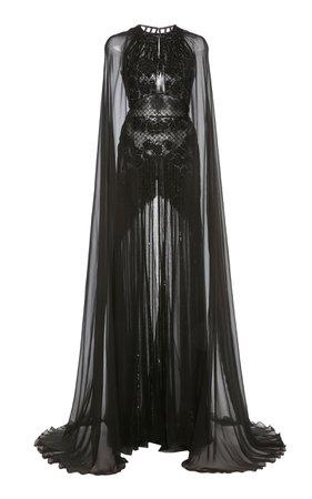 Zuhair Murad Embellished Cape-Sleeve Silk-Chiffon Gown