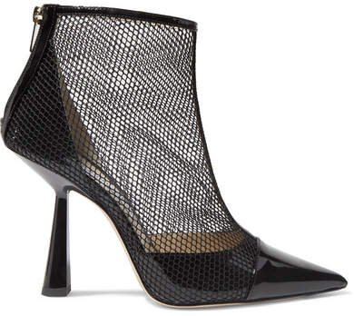 Kix 100 Fishnet And Patent-leather Ankle Boots - Black