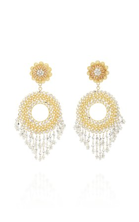 Silver & Gold Carnation Earrings by Rosario Holguin | Moda Operandi