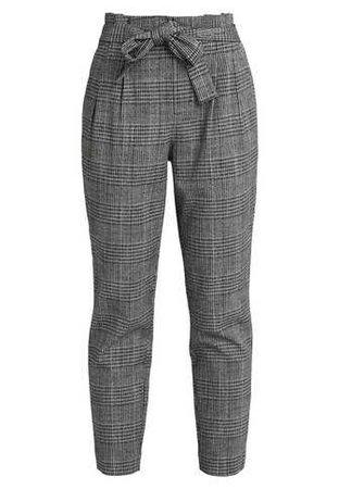 ONLY ONLFLORENCE CHECK BELT PANT - Trousers - black - Zalando.co.uk