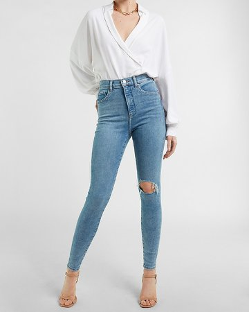 Super High Waisted Ripped Light Wash Skinny Jeans