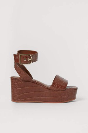 Wedge-heeled Sandals - Beige