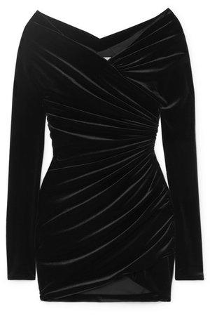 Alexandre Vauthier | Off-the-shoulder ruched velvet mini dress | NET-A-PORTER.COM