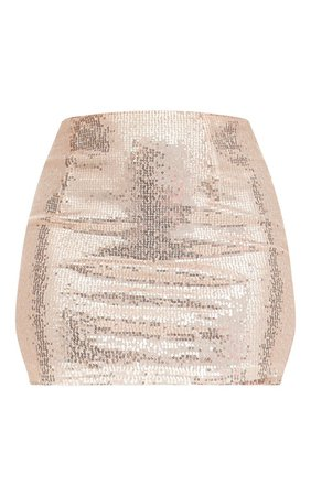 Rose Gold Sequin Mini Skirt   PrettyLittleThing USA