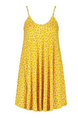 Ditsy Floral Swing Dress | boohoo yellow
