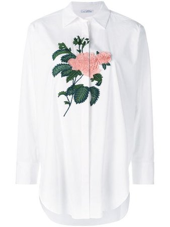 Oscar De La Renta Embroidered Rose Oversized Shirt - Farfetch