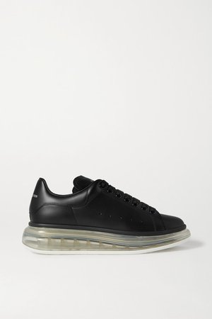 Leather Exaggerated-sole Sneakers - Black
