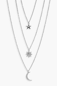 Amy Star Sun Moon Layered Necklace