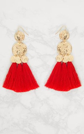 Red Coin Drop Tassel Earrings | Accessories | PrettyLittleThing