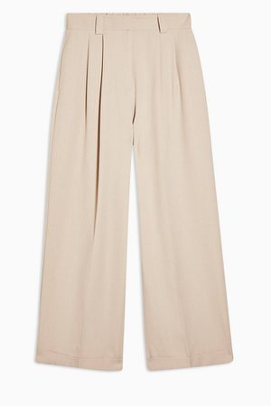 Stone Elastic Back Wide Leg Trousers | Topshop
