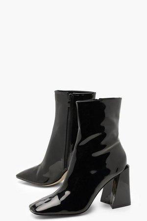 Flared Heel Patent Sock Boots | Boohoo