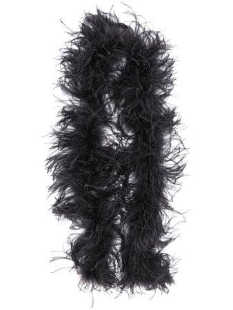 Black The Attico feathered long scarf 202WAB06H002 - Farfetch