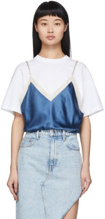 White and Blue Silk Camisole Overlay T-Shirt