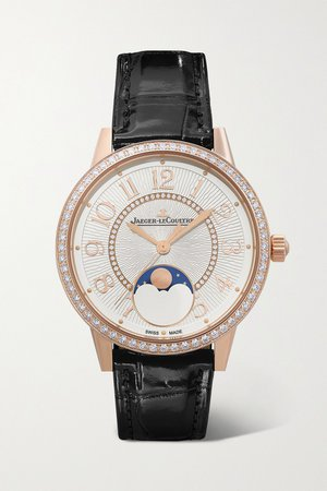Gold Rendez-Vous Moon Automatic 34mm medium rose gold, alligator and diamond watch | Jaeger-LeCoultre | NET-A-PORTER
