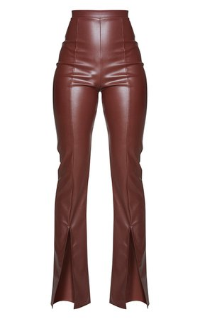 Chocolate Faux Leather Seam Split Trousers | PrettyLittleThing