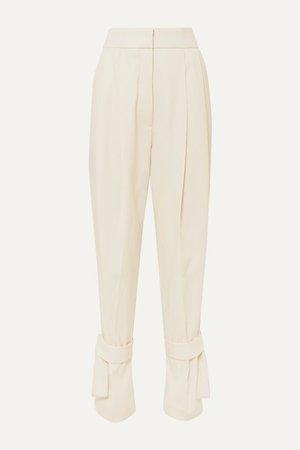 Tie-detailed Wool Pants - Ivory