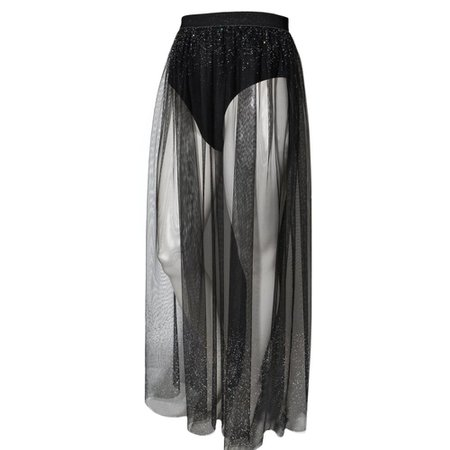 sheer tulle maxi skirt