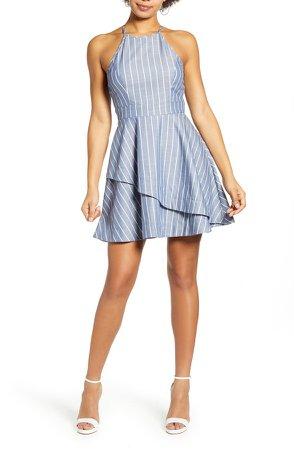 Stripe Cotton Blend Minidress