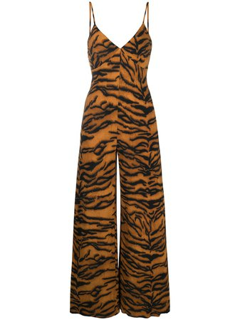 Shop brown Norma Kamali tiger print jumpsuit with Afterpay - Farfetch Australia