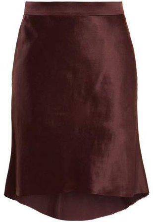 Bias Godet Satin Slip Skirt - Womens - Burgundy