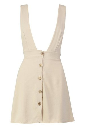 Petite Plunge Front Button Pinafore Dress | Boohoo