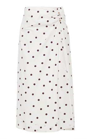 Ganni Printed Cotton Poplin Polka Dot Midi Skirt Size: 36