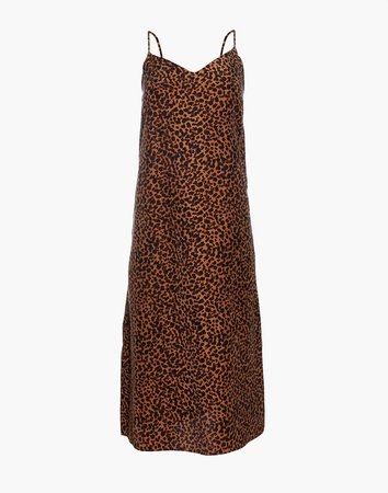 Silk Eva Slip Dress in Painted Leopard