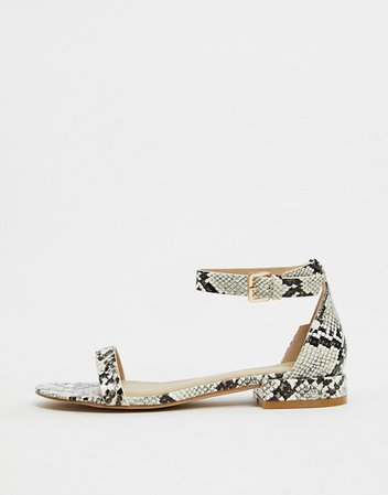 RAID Harper two part flat sandals in snake | ASOS