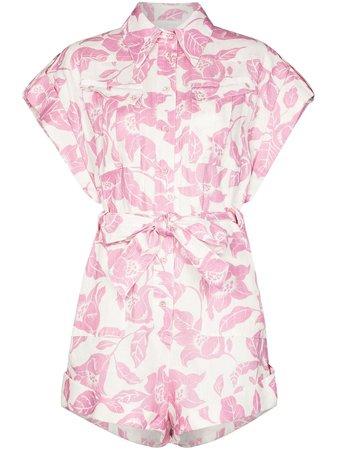 Pink Zimmermann floral print tie-waist playsuit 7842YBEL - Farfetch