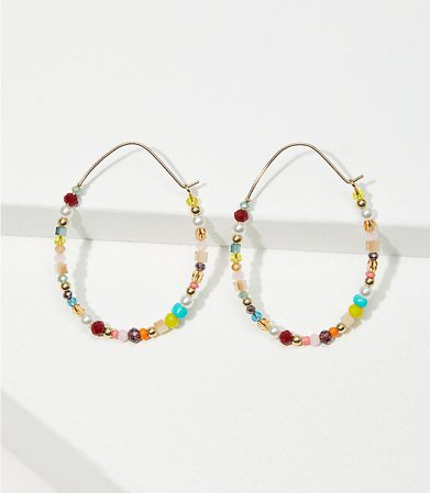 Mixed Beaded Hoop Earrings | LOFT