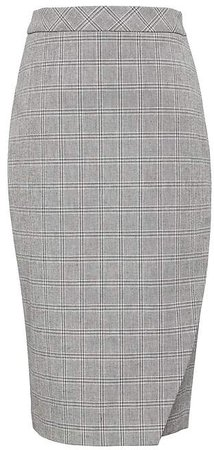 Plaid Bi-Stretch Wrap-Front Pencil Skirt
