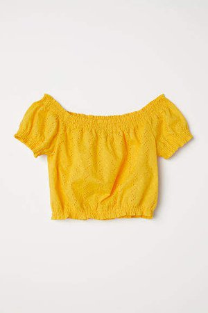 Short Off-the-shoulder Blouse - Yellow