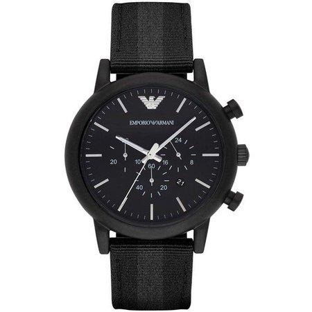 Emporio Armani Stainless Steel Nylon-Strap Watch