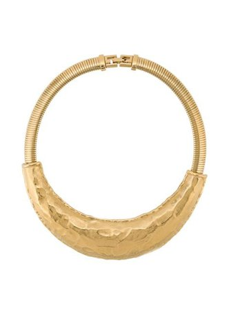 Shop gold Givenchy Pre-Owned hammered crescent choker necklace with Express Delivery - Farfetch