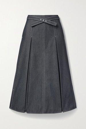 Belted Pleated Denim Midi Skirt - Indigo