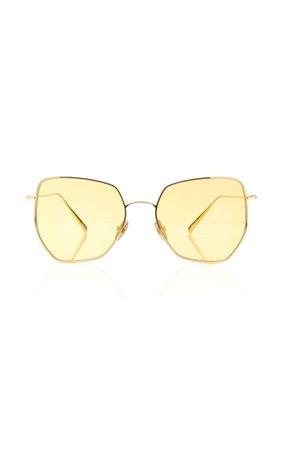 Kaleos Eyehunters Boggs Square-Frame Gold-Tone Sunglasses