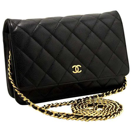 CHANEL Caviar Wallet On Chain WOC Black Shoulder Bag Clutch Gold For Sale at 1stdibs